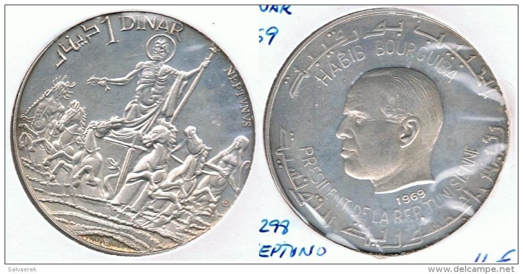TUNEZ DINAR 1969 NEPTUNO PLATA SILVER G1 - Túnez