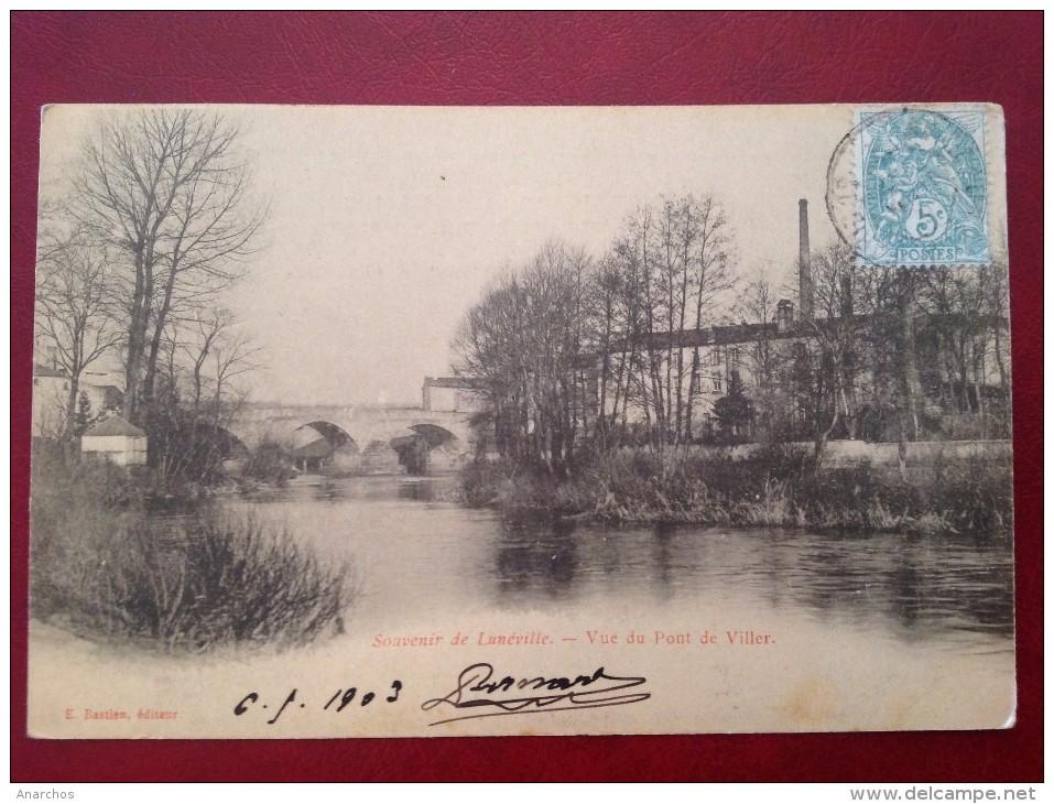 54 Meurthe Et Moselle Souvenir De LUNEVILLE Vue Du Pont De Viller + Ambulant AVRICOURT à PARIS - Luneville