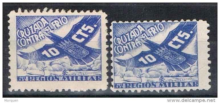 Viñetas Cruzada Contra El Frio 1937, Guerra Civil, VARIEDAD De Tamaño, Num 25-25a * - Viñetas De La Guerra Civil