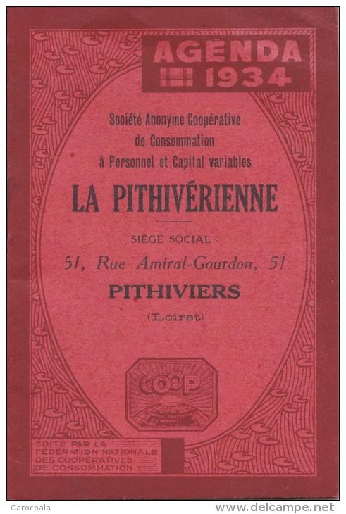 Calendrier 1934 : Agenda Magasin La Pithivérienne à Pithiviers Dans Le Loiret - Calendriers