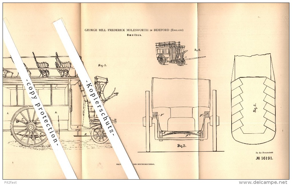 Original Patent - George M.F. Molesworth In Bideford / Devon , 1881 , Carriage , Omnibus , Wagon , Kutsche !!! - Cars