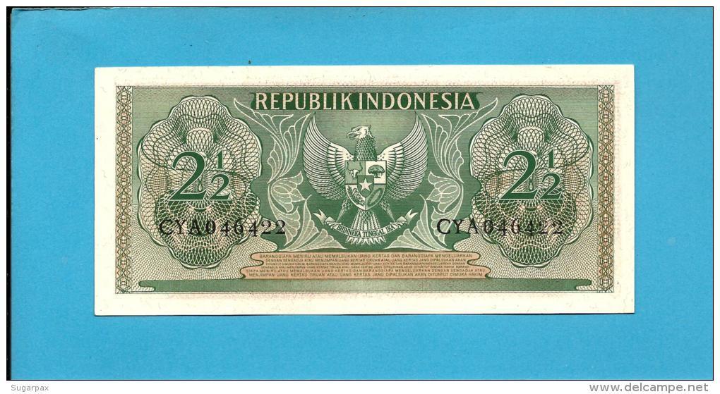INDONESIA - 2 1/2 Rupiah - 1956 - P 75 - UNC. - Série CYA - Rotinese Man / Arms  - 2 Scans - Indonésie