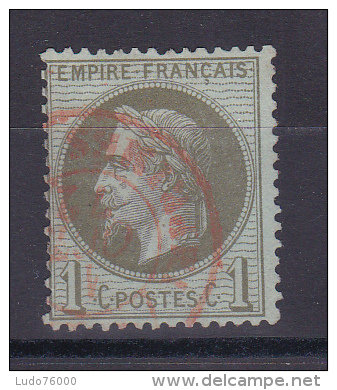 NAPOLEON N° 25 CACHET ROUGE COTE 45€ - 1863-1870 Napoléon III Lauré