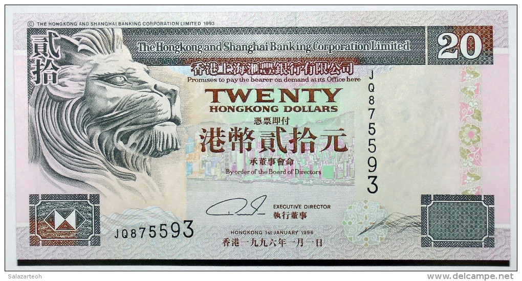 Hong Kong & Shanghai Banking Corp. 20 Dollars, 1996, GEM UNC Banknote, Pick 201b Leer Todo Y Ver Imagenes - Hong Kong