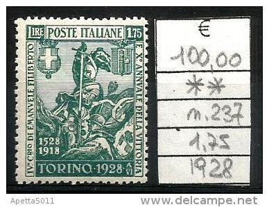 1928 REGNO Emanuele Filiberto  L. 1,75 Nuovo ** MNH - Nuovi