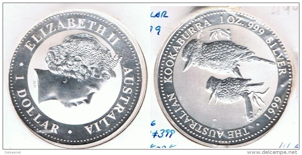 AUSTRALIA DOLLAR KOOKABURRA 1999 OUNCE PLATA SILVER F1 - Sin Clasificación