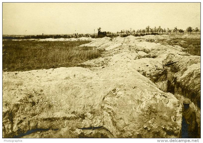 France Souain Tranchée Destruction WWI Ancienne Photo SPA 1918 - War, Military
