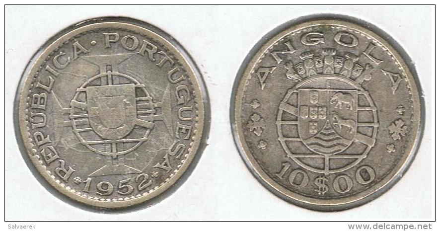 ANGOLA 10 ESCUDO 1952 PLATA SILVER G1 - Angola