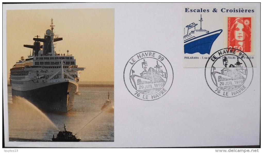 Enveloppe Escales & Croisières - Le Havre 99 Datée 20.07.1999 - Parfait état - - Bateaux