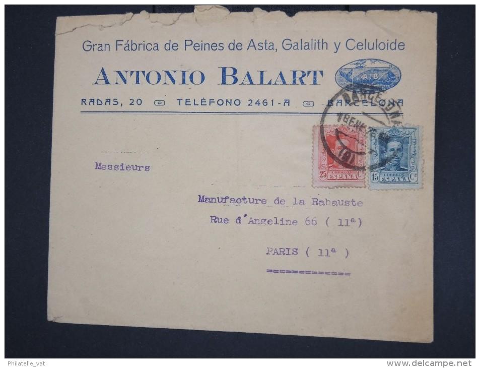 ESPAGNE - Enveloppe Illustrée ( Baleine) De Barcelonne Pour Paris En 1926 - à Voir - Lot P7745 - Cartas