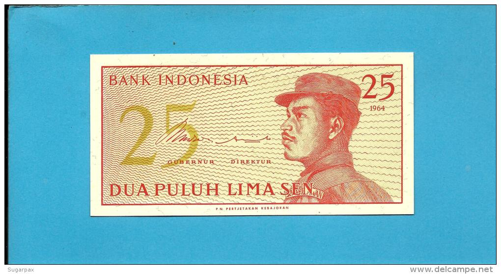 INDONESIA - 25 SEN - 1964 - P 93 - UNC. - Série COR - A Volunteer Man In Uniform - 2 Scans - Indonésie