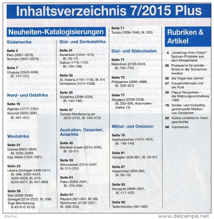 Rundschau MICHEL 7/2015 Sowie 7/2015-plus Neue Briefmarken 11€ New Stamps Of The World Catalogue And Magacine Of Germany - Art Asiatique