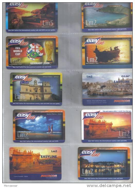 MALTA -  SET OF 10  ( EASY LINE  ) PHONECARDS  RARE - Malta