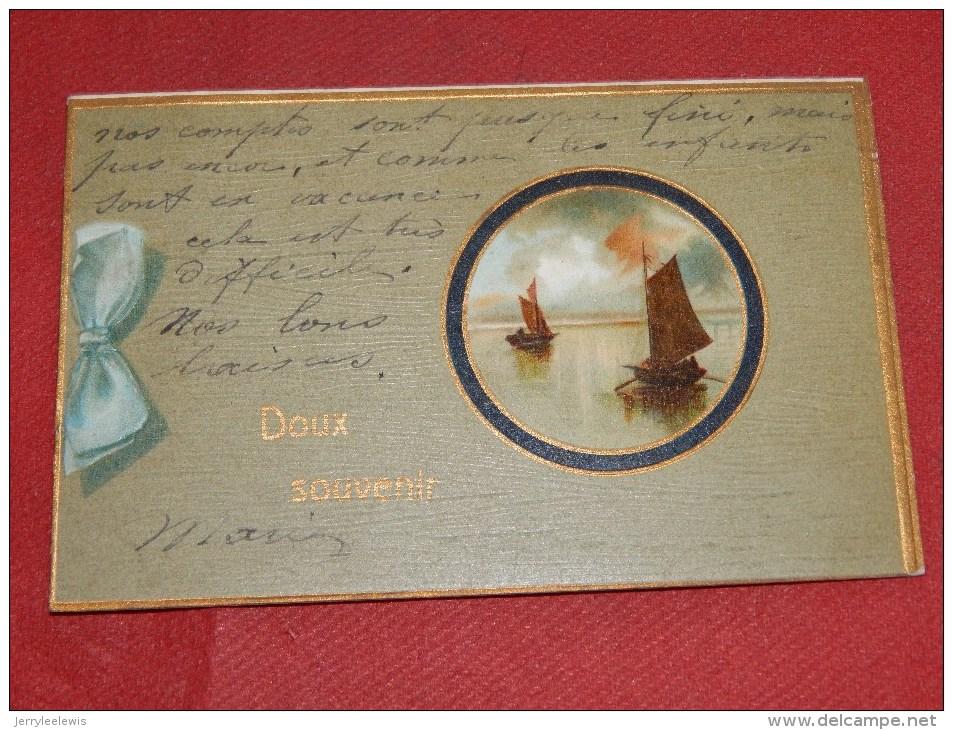 FANTAISIES -  DOUX  SOUVENIR    - Carte Gaufrée  -  1907  - (2 Scans) - Fêtes - Voeux