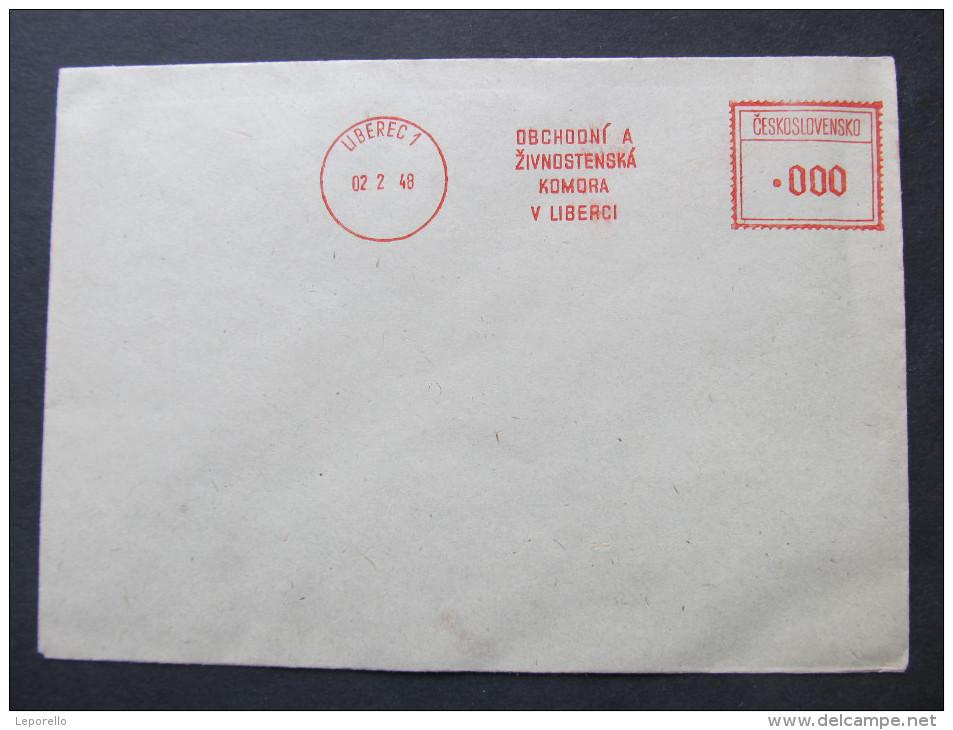 BRIEF Frankotype Postfreistempel 1948 LIBEREC  Obchodni A Zivnostenska /// T5660 - Briefe U. Dokumente
