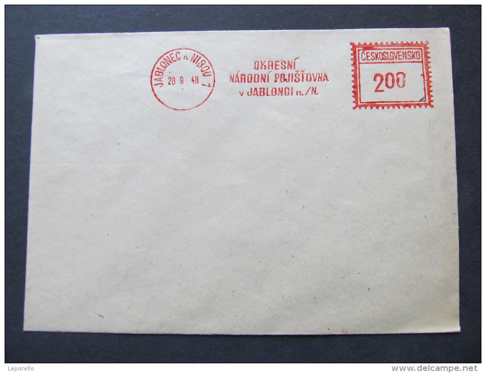 BRIEF Frankotype Postfreistempel 1948 JABLONEC Nad Nisou Okresni Narodni /// T5659 - Tschechoslowakei/CSSR