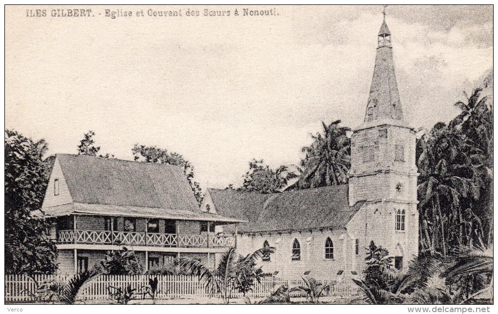Carte Postale Ancienne De ILES GILBERT -EGLISE ET COUVENT DES SOEURS A NONOUTI - Kiribati