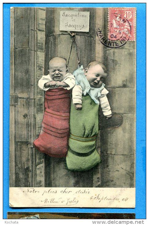 Madd308, 2 Bébés Suspendus Dans Des Sacs, Jacqueline Et Jacques, Précurseur, Circulée 1904 - Neonati