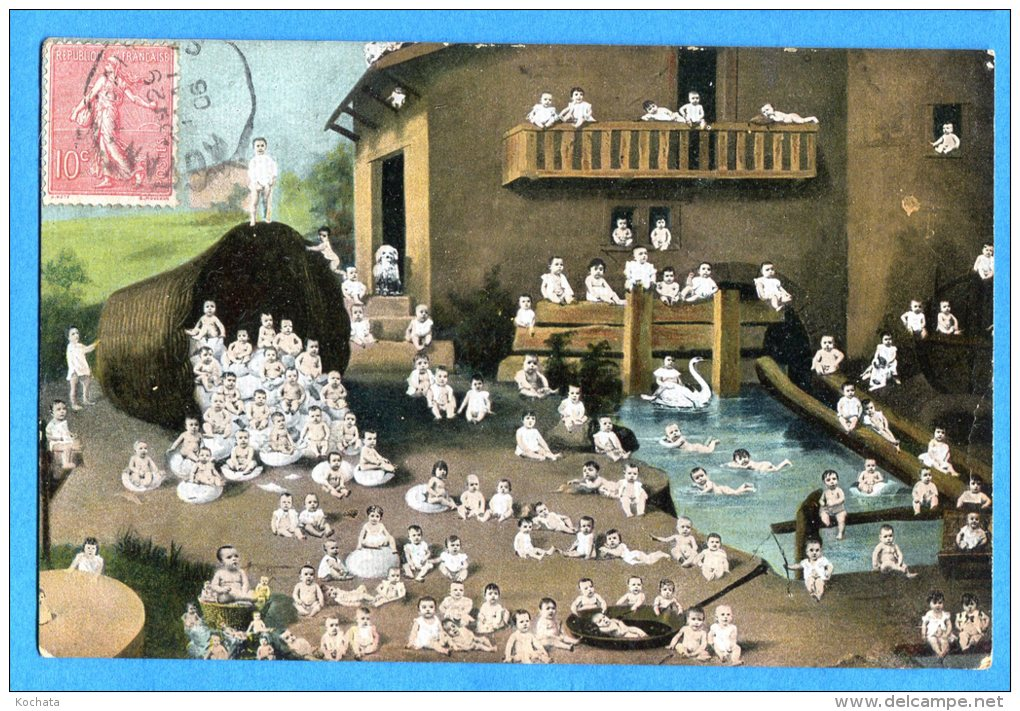 Madd311, Fantaisie, Bébés , Oeufs, Cygne, Circulée 1906 - Neonati