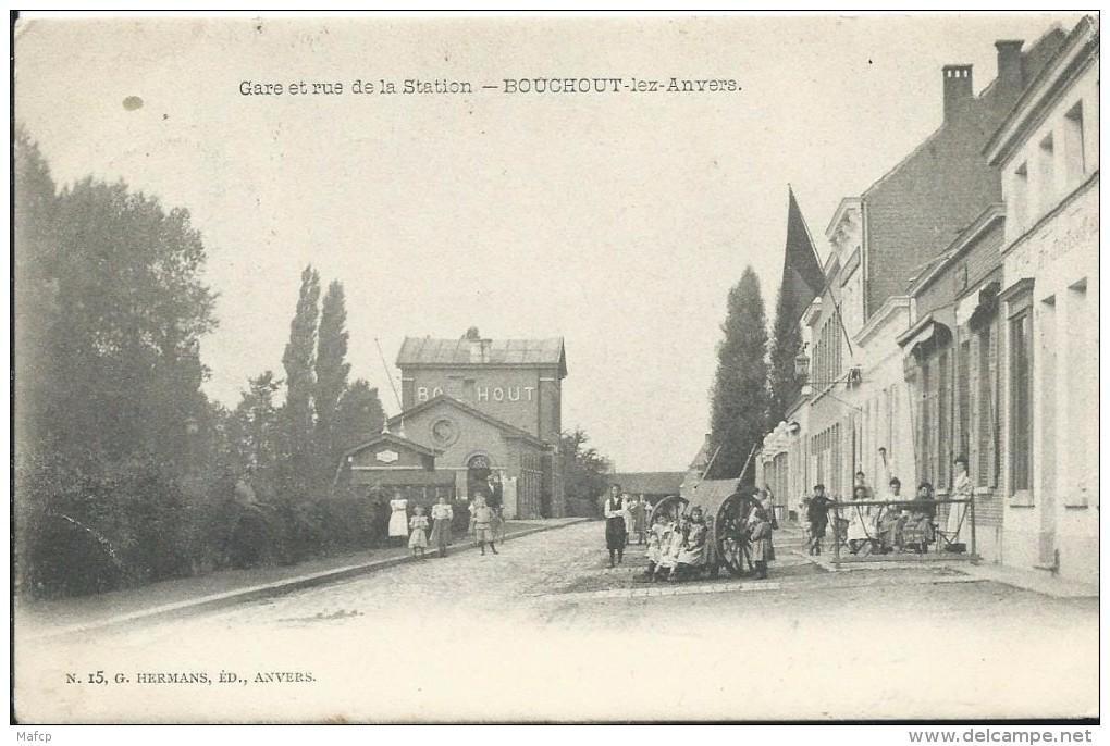 BOUCHOUT - GARE ET RUE DE LA STATION - Stations - Zonder Treinen