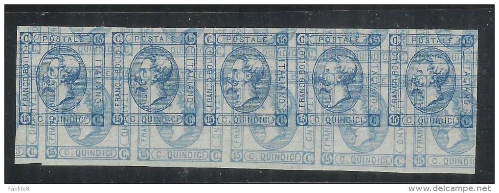 ITALIA REGNO ITALY KINGDOM 1863 CENT.15 I TIPO VARIETA´ PROVA DI STAMPA VARIETY DOPPIA STAMPA STRISCIA CERTIFICATO - 1861-78 Vittorio Emanuele II