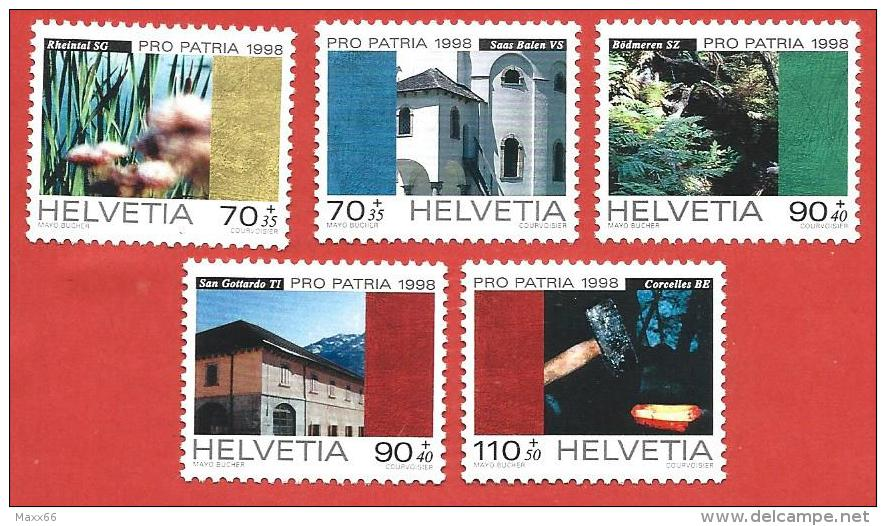 SVIZZERA PRO PATRIA MNH - 1998 - Paesaggi E Beni Culturali  - VARI - Michel 1649-1653 - Nuovi