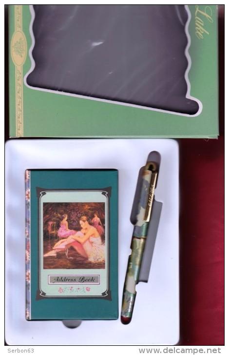 1 CARNET D'ADRESSE BOOK REPERTOIRE CARTONNE + STYLO BILLE LUXUEUSE PRESENTATION JEUNESSE FERMETURE LIBRAIRIE PAPETERIE - Address Books