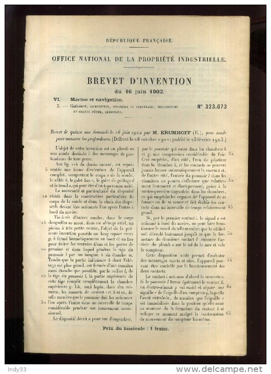 - SONDE   . BREVET D´INVENTION DE 1902 . - Technics & Instruments