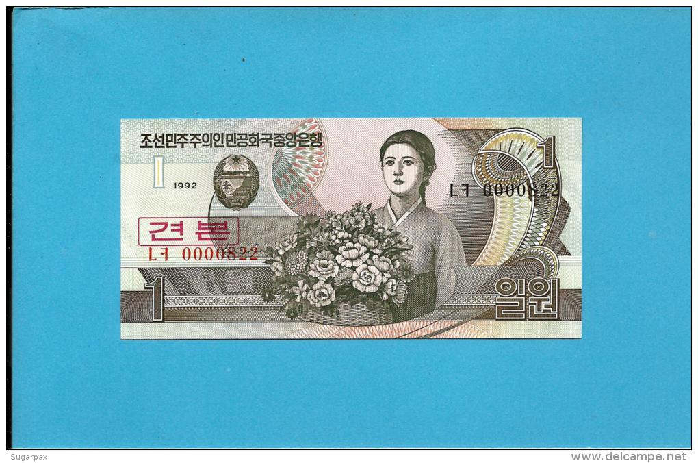 KOREA, NORTH - 1 WON - 1992 - P 39.s - UNC. - SPECIMEN - 0000822 - Low Number - 2 Scans - Corea Del Nord
