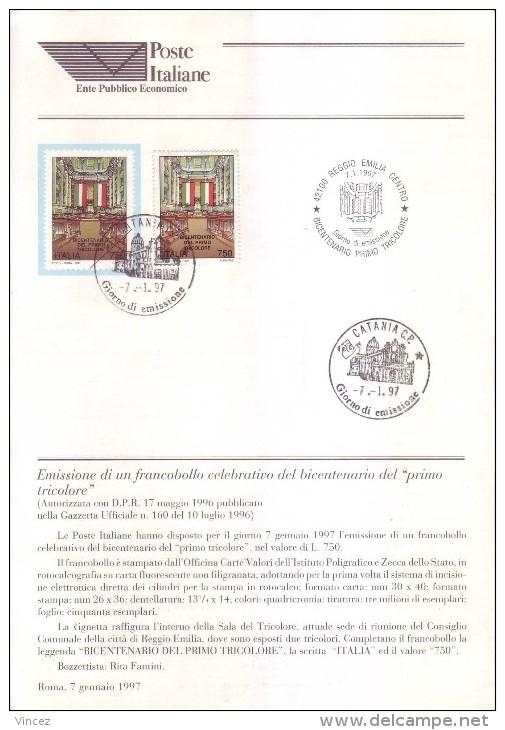 Bollettino 1997 - Primo Tricolore. Bollettino Con Francobollo E Annullo FDC - 6. 1946-.. República