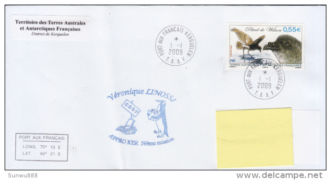 TAAF Enveloppe Port Aux Français Appro Ker 59ème Mission  2009 (Petrel De Wilson) - Autres
