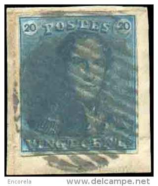 N°2 - Epaulette 20 Centimes Bleue, TB Margée Et Sur Petit Fragment, Obl. RURALE à 14 Barres Bien Nette.  Superbe.   1066 - 1849 Epaulettes