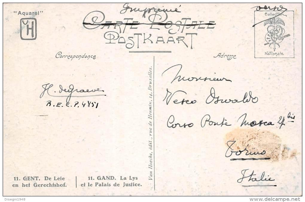 "03742 ""GENT - DE LEIE EN HET GERECHTSHOF - GAND - LA LYS ET LE PALAIS DE JUSTICE"".  CART. ILL.  ORIG. SPEDITA 1920. - Gent"