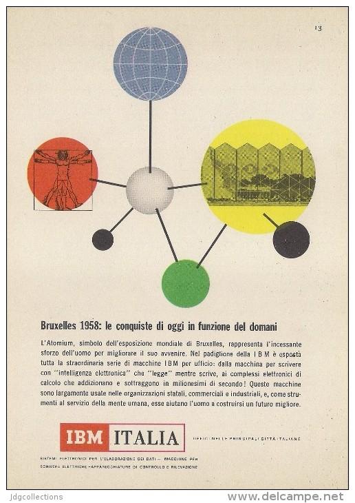 # IBM Electronics Computer  Atomium Bruxelles 1950s Advert Pubblicità Publicitè Reklame Ordinateur Elektronik - Other