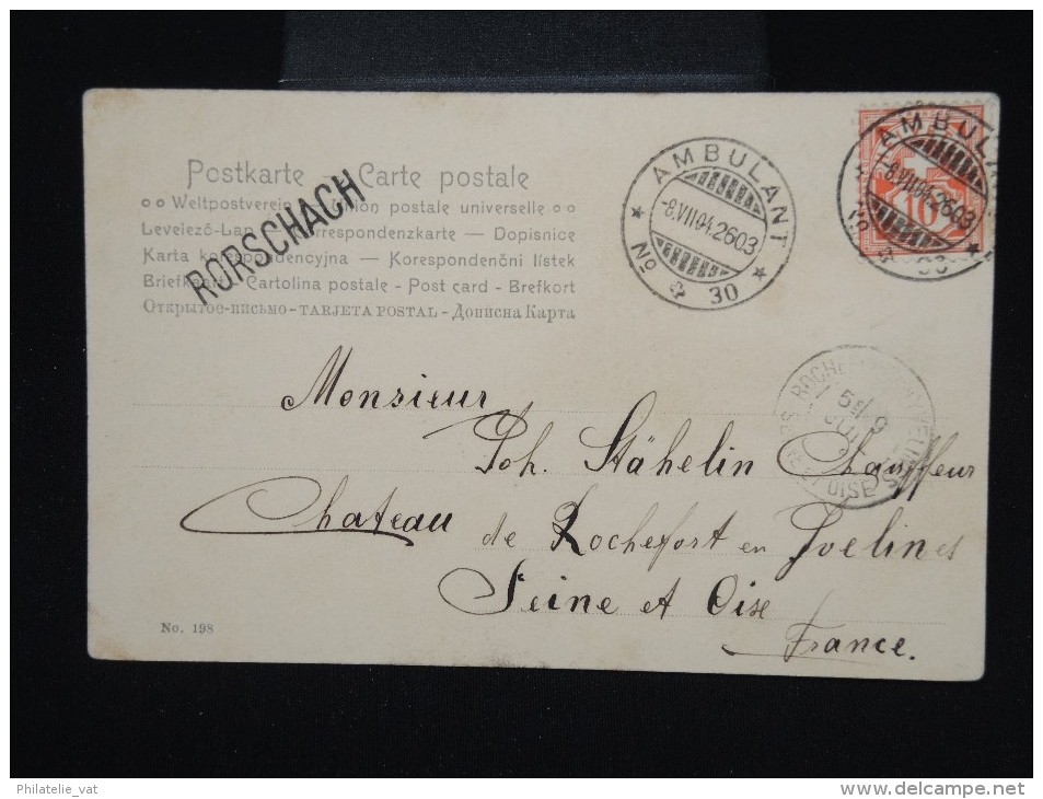 SUISSE - Obl. Ambulant De Rorschach Pour La France En 1904 Sur C.P. - à Voir - Lot P7994 - Covers & Documents