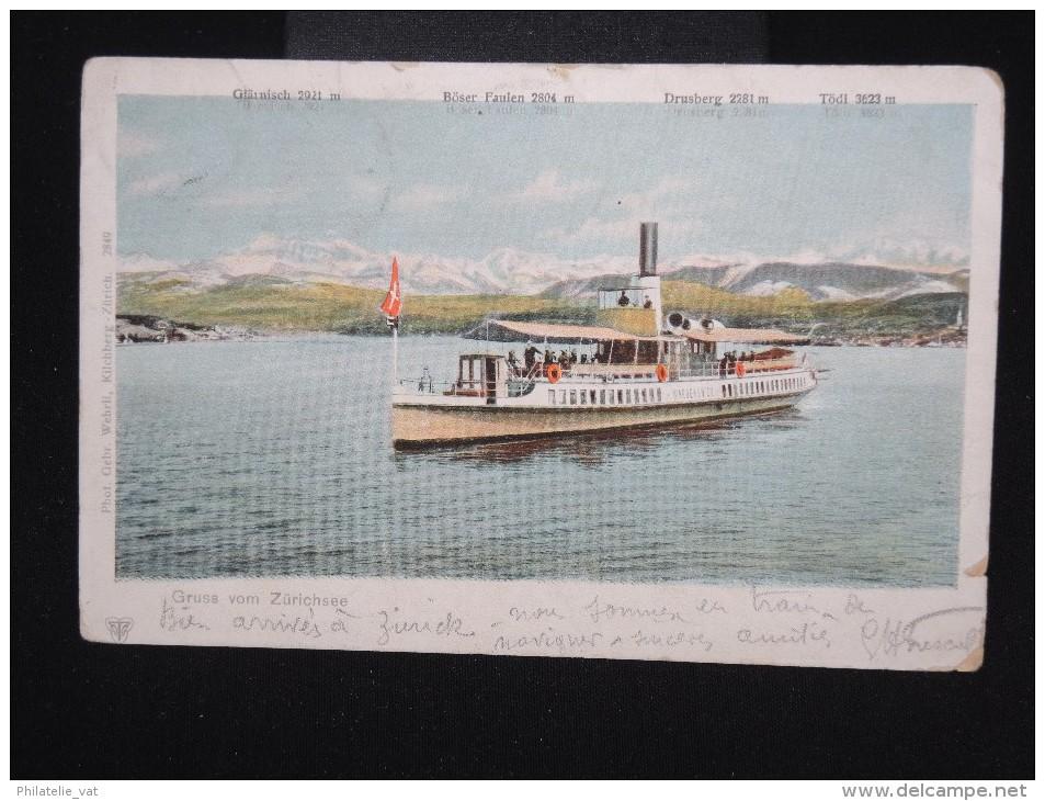 SUISSE - Obl. Ambulant De Wadenschweil Pour La France En 1901 Sur C.P. - à Voir - Lot P7995 - Covers & Documents