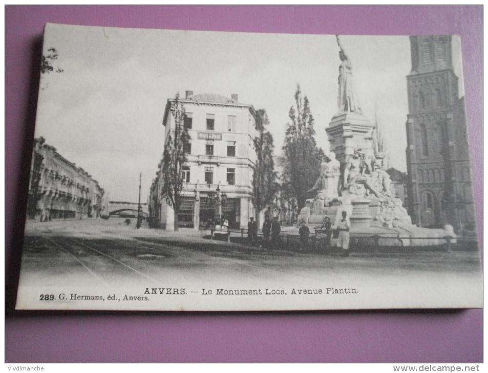 ANVERS - LE MONUMENT LOOS AVENUE PLANTIN - CAFE DU PARC - CPA VIERGE - G. HERMANS - Antwerpen