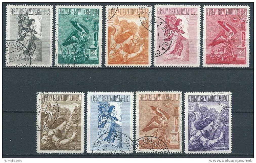 1956 VATICANO POSTA AEREA USATO ARCANGELO GABRIELE 9 VALORI - X3 - Airmail