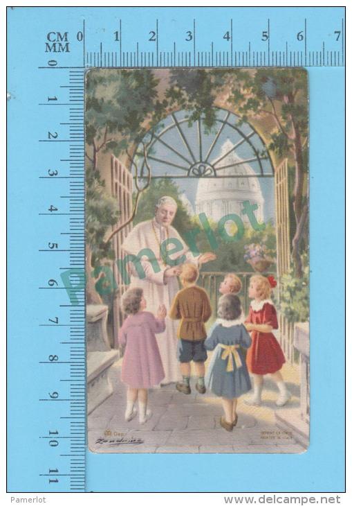 AR - ( Pape PIE X Bénissant Des Enfants )  Image Pieuse Santini Holycard 2 Scans - Images Religieuses