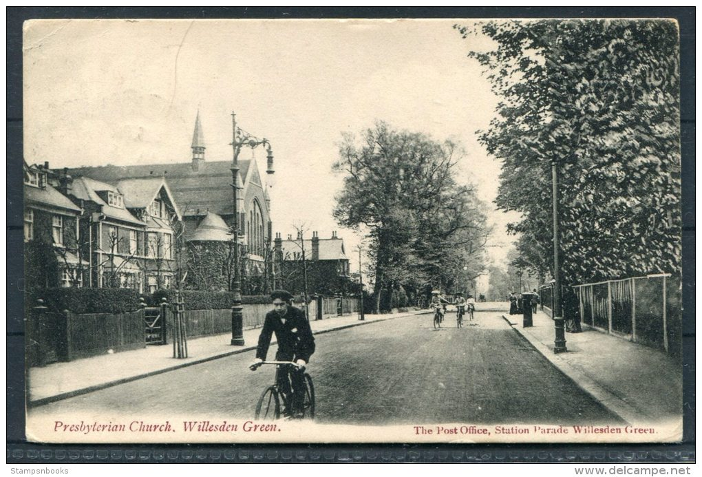 1905 Presbyterian Church, Willesden Green / Post Office, Station Parade Postcard, Kilburn - Hampton Wick - London Suburbs