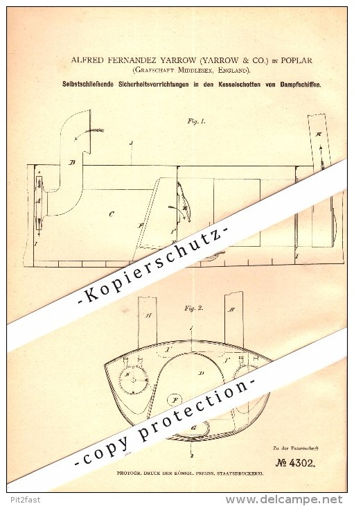 Original Patent - A.F. Yarrow In Poplar , Middlesex , 1878 , Security Apparatus For Steamships !!! - Boats