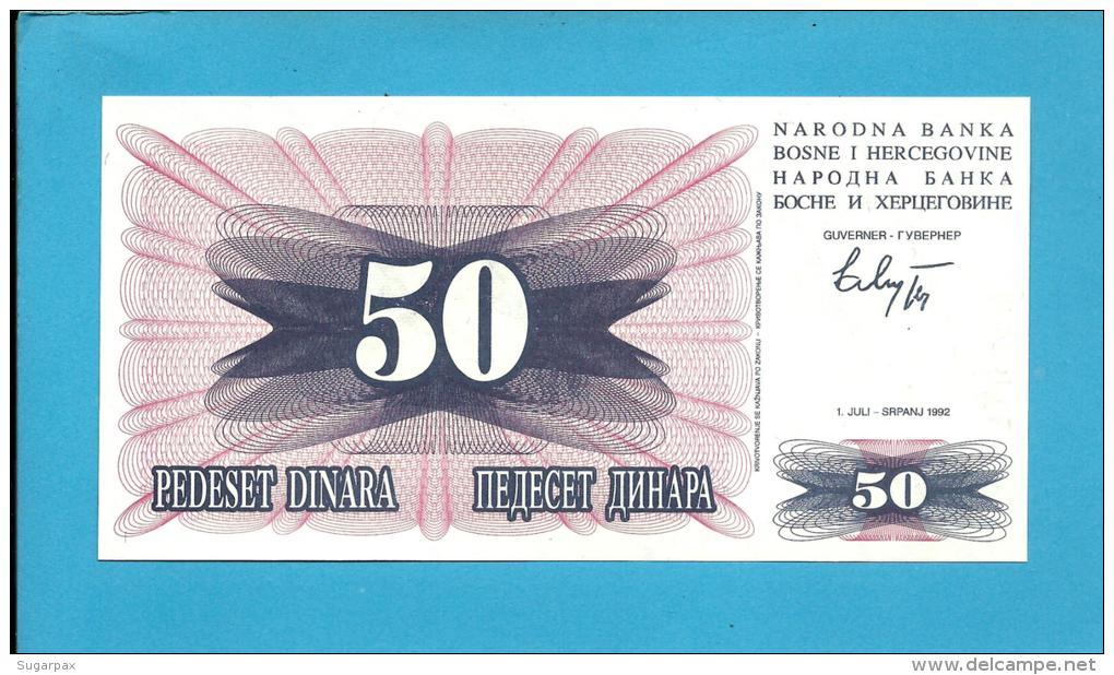 BOSNIA & HERZEGIVINA - 50 DINARA - 1992 - Pick 12 - UNC. -  Prefix FE - Narodna Banka Bosne I Hercegovine - Bosnia Erzegovina