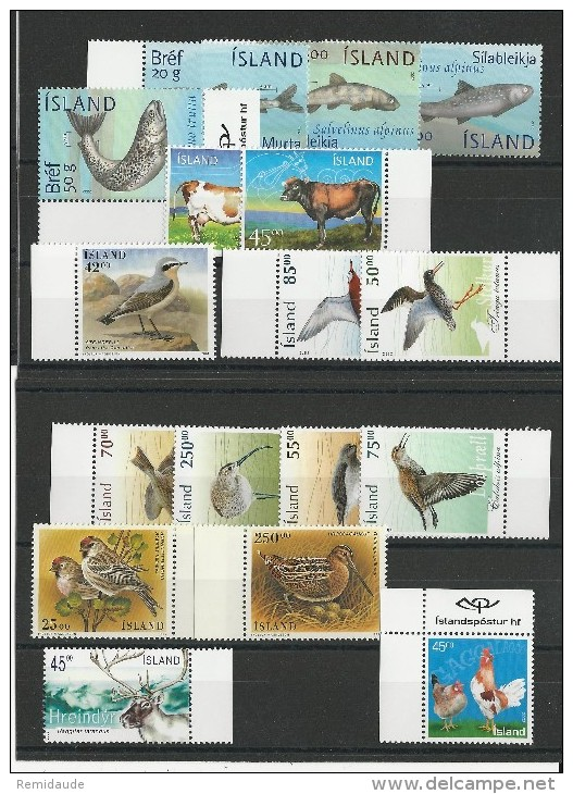 ISLANDE - SERIES COMPLETES FAUNE - ANIMAUX ** ANNEES 1995/2004 - COTE YT = 64 EUR. - Collections, Lots & Séries