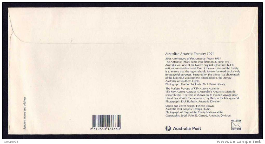 AAT ( Australian Antarctic Territory )- FDC- 1991- Traité De L´Antarctique ( Antarctic Treaty)- Flags, Animals - FDC