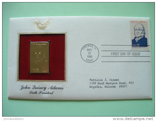 USA 1986 FDC Cover Presidents Gold Replica 23K - John Quincy Adams - Boat - Train - Etats-Unis