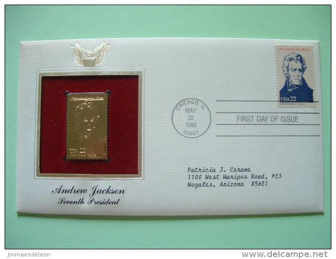 USA 1986 FDC Cover Presidents Gold Replica 23K - Andrew Jackson - Stati Uniti