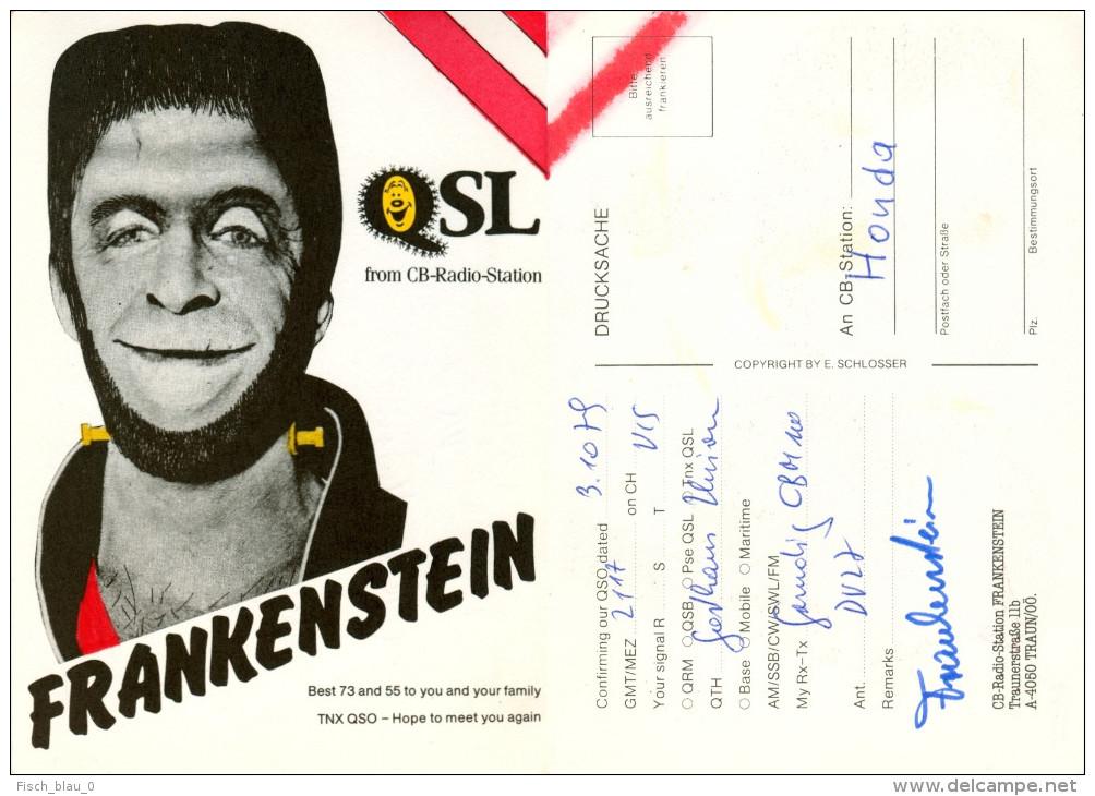 QSL-Karte 4050 Traun CB-Station Frankenstein Traunerstraße Monster 1979 Card Carte Funkkarte Österreich Austria Autriche - QSL-Karten