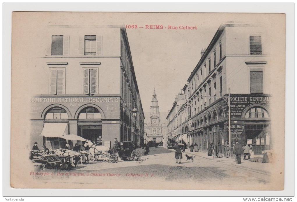 CPA - REIMS (51 - Marne) - Rue Colbert / Comptoir National Escompte - Société Générale / Circulé En 1918 - Reims