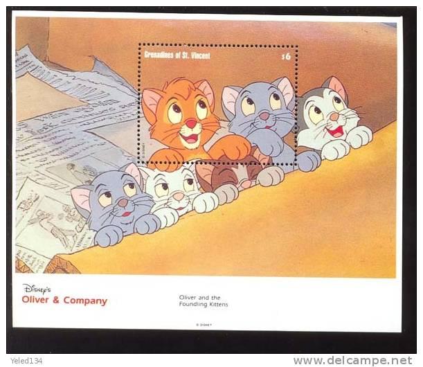 #  590-2 MINT NEVER HINGED SOUVENIR SHEET OF DISNEY  ; OLIVER & COMPANY ; (  GR. OF ST.VINCENT  990 - Disney