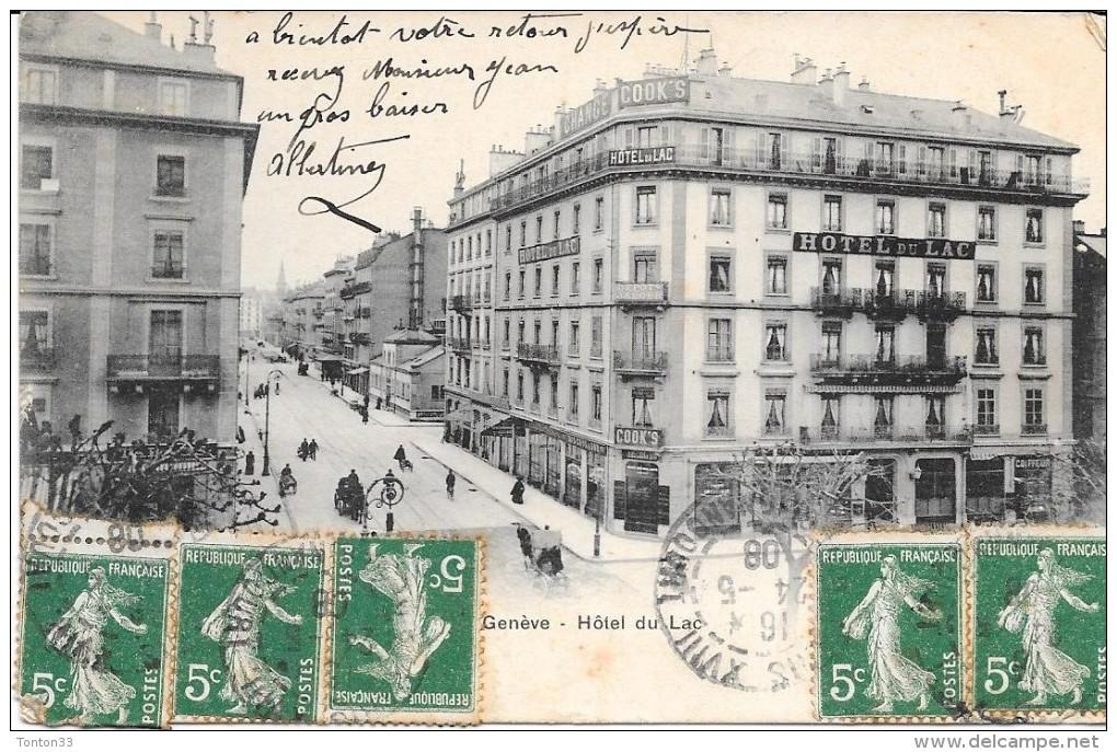 GENEVE - SUISSE -  CPA DOS SIMPLE De 1908 - Hotel Du Lac - ENCH33 - - GE Genève